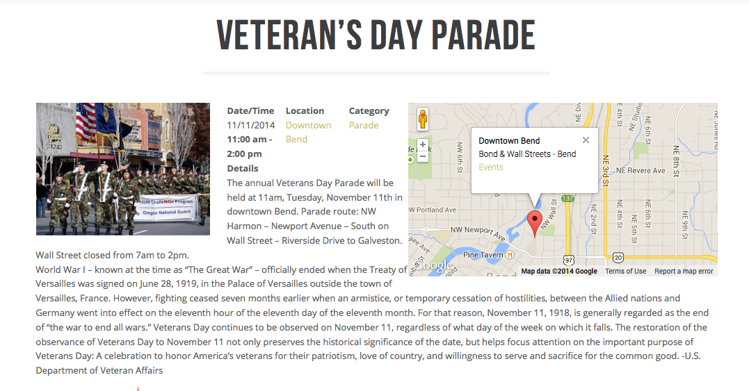 Bend vacation rentals veterans parade