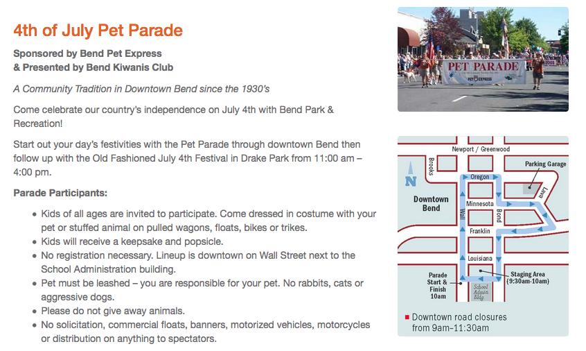 4th of July Pet Parade bend vacation rentals