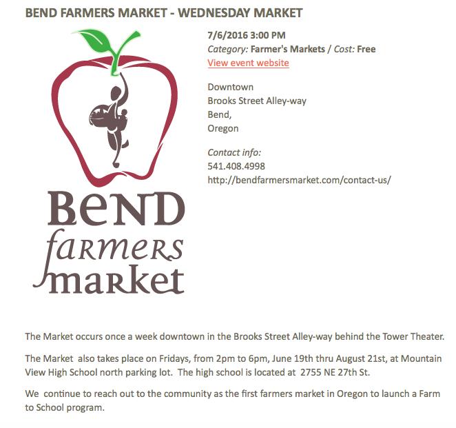 Bend farmer's Market   Bend vacation rentals