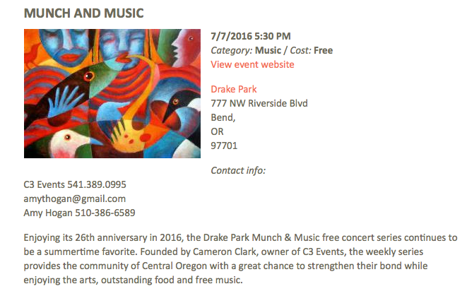 Munch and Music   Bend vacation rentals